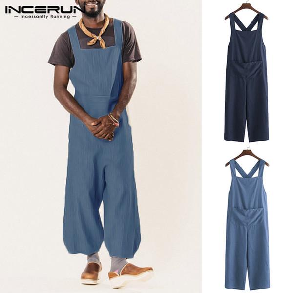 Streetwear Men Work Suits Harajuku Overalls Men Rompers Cotton Half Sleeve Button Pants Cowboy Casual Solid Man Jumpsuit Trouser