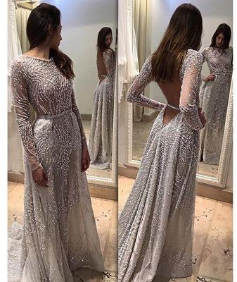 2019 in stock hot sale explosions ladies gray sexy round neck long-sleeved halter dress long skirt / into the store to choose more styles