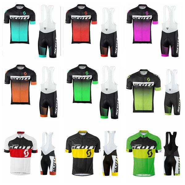 SCOTT team 2019 summer men Cycling Short Sleeves jersey bib shorts sets uniform MTB mens Cycling Clothing52268