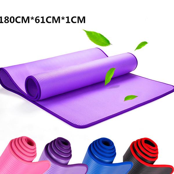 10 MM Extra Grosso 183 cm X 61 cm de Alta Qualidade NRB Não-deslizamento Ioga Tapetes de Exercício Pads com Ataduras de Fitness Insípido Pilates Ginásio