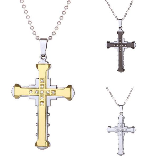 Cristal Mens Cruz Pingente de colar Para as mulheres Dupla camada de aço inoxidável Crucifixo Jesus Charme chains Moda Jóias Religião