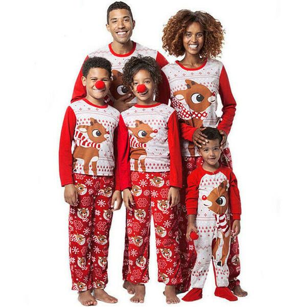 2019 Family Matching Merry Christmas Pyjamas PJs Sets Niños Adultos Navidad Ropa de dormir Ropa de dormir Ropa Mujeres Hombres Conjunto de ropa casual