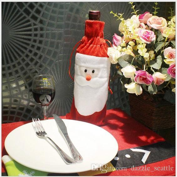 Red Wine Bottle Bags Christmas Decorations Gift Party for Xmas Santa Claus Snowman Red Wine Bottle Cover Bags Evening Party Free shipping
