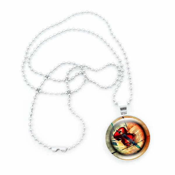 top popular Fashion Retro violin glass pendant necklace music jewelry necklace Music Gifts 2021