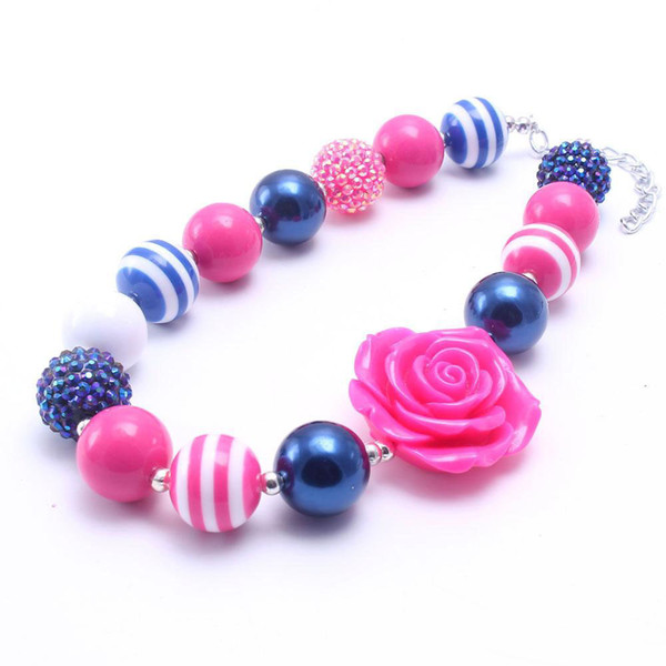 top popular Newest Hot Pink Fashion Flower Necklace Birthday Party Gift For Toddlers Girls Beaded Bubblegum Baby Kids Chunky Necklace Jewelry 2021