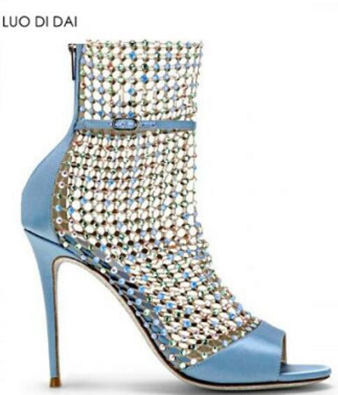 2019 donne sexy sandali estivi stivali air mesh stivaletti peep toe tacchi alti stivali strass partito scarpe posteriore zip calzino