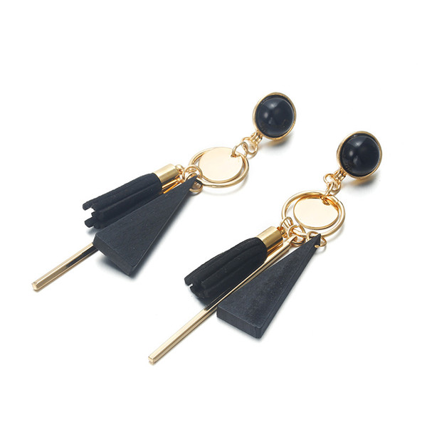 Ins Temperament Gem Long Tassel Stud Earring Triangular Wood Simple Earring Popular Bohemia Earrings For Women Fashion BFF Jewelry Hot