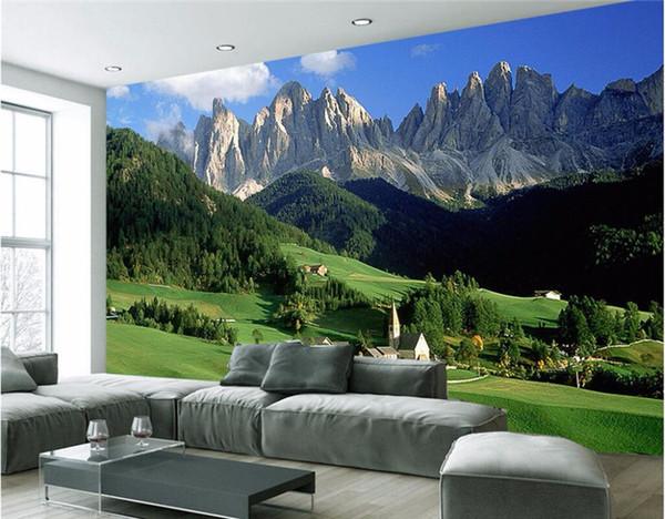 Custom mural 3d wallpaper mountain forest grassland photo wall paper decor painting 3d wall murals wallpaper for walls 3 d
