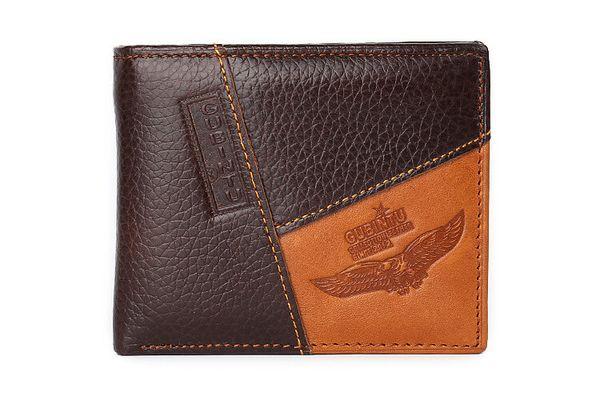 Men Genuine Leather Retro Short Bifold Wallet Top Quality Cowhide Coin luxury men purse Money Clips Slim Vintage Design Purse New style v