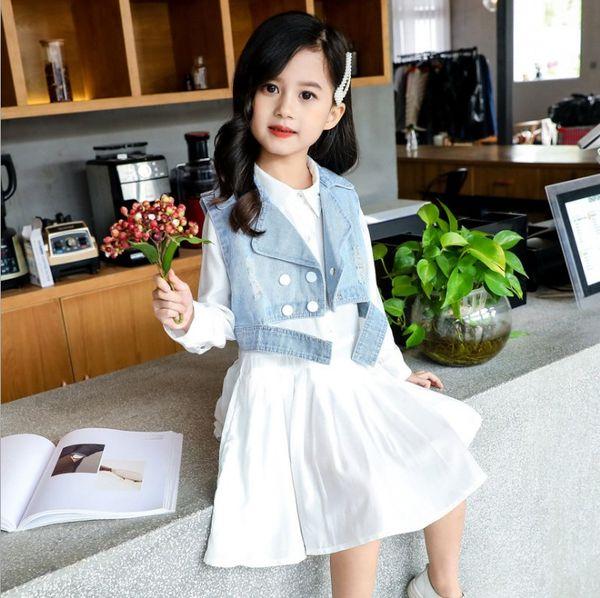Vêtements pour enfants 2019 coréens filles blanc Mode Robe chemise Ensemble 2 pièces à double boutonnage Denim et robe Waistcoat plissée