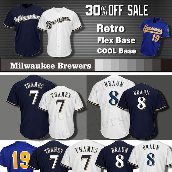huge selection of 18486 1624b 2019 19 Robin Yount Milwaukee Brewers Jersey Men COOL Base 8 Ryan Braun 7  Eric Thames Baseball Jersey Yount From Newsoccerjerseys, $22.86 | DHgate.Com