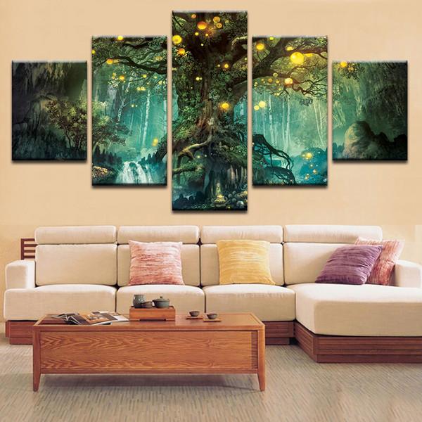 Dekoration Moderne Leinwand HD Gedruckt Abstrakter Baum Landschaftswandkunst Malerei Für Wohnzimmer Gerahmtes Modulares Bild