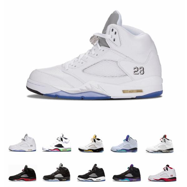 Новые Классические 5 5s V OG Черные Металлические Золотые Белые Цементные Мужские Баскетбольные Кроссовки синие Замшевые Олимпийские металлические Огненно-Красные Спортивные Кроссовки Обувь