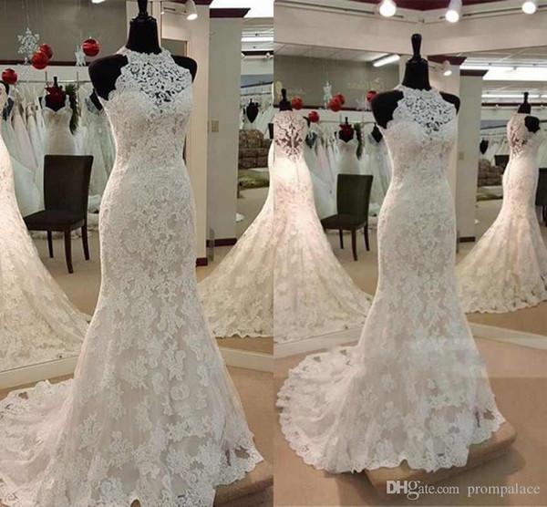 Lindo Sereia Vestidos de Noiva Jewel Neck Lace Apliques de Volta Com o Botão de Vestidos De Noiva Vestidos De Casamento Encantador