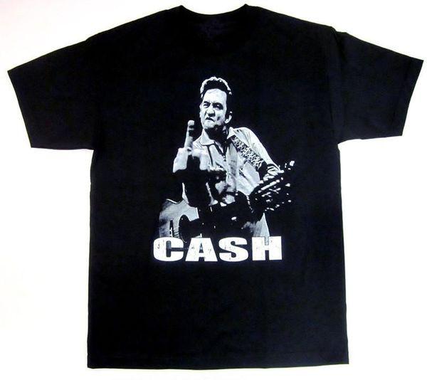 Лучшие продажи Джонни Кэш футболка человек в Черном Флиппин птица палец рок для взрослых футболка 100% хлопок музыка топ тройники S-2Xl новый тонкий футболка