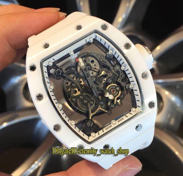 Versione alta New RM055 Skeleton quadrante bianco compositi nano-ceramica Case Giappone Miyota Automatic RM 055 Mens Watch cinturino in gomma orologi sportivi