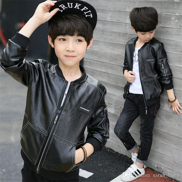 2018 Spring Autumn New Children's Clothing Boys Black Jacket Children Clothes Solid Online Leather Jacket Outwear