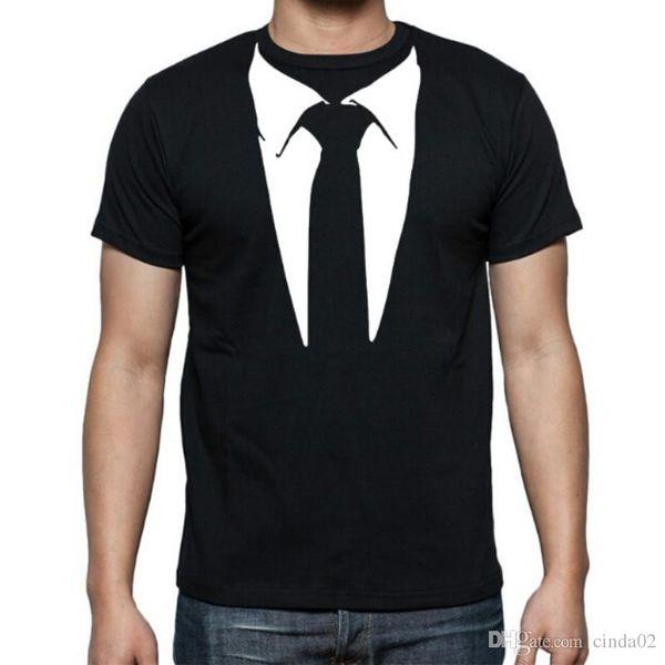 New Novelty Men T Shirts Tuxedo Tees Retro Tie Funny Camisetas Men O Neck Top Tshirt Casual Fitness Mens Clothing