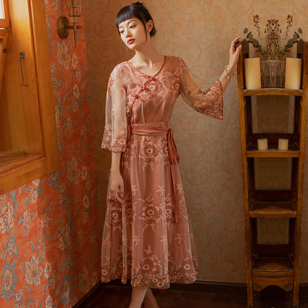Women Dress Vintage Style Mesh Embroidery Coral Orange Best Quality Party Wedding Prom Cocktail Formal Dresses 1363