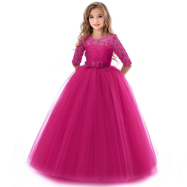 Children party dress girl wedding dress long sleeve girl first communion Princess ball gown for girls dress 8 10 12 years