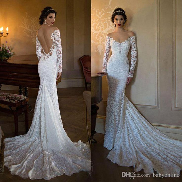 Sheer Jewel Neckline Fit to Flare Lace Wedding Dress Long Sleeves Light Weight Illusion Back Bridal Dress Custom Made Wedding Gown