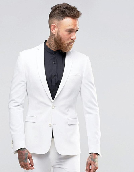 White Groom Tuxedos Notch Lapel Men Wedding Tuxedos Popular Jacket Blazer Center Vent Men Dinner/Darty Suit Custom Made(Jacket+Pants+Tie)267