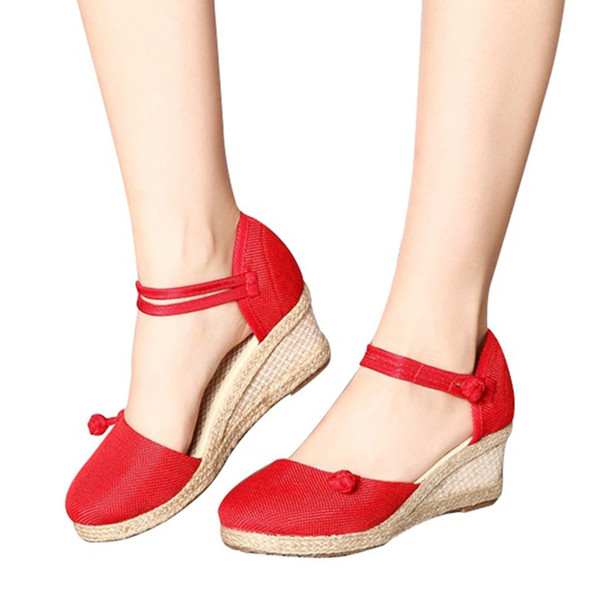 669cf9541bf1f 2019 Handmade Summer Women Hemp Linen Close Toe Wedge Sandals Minimalist  Mid Heel Ladies Casual Hemp
