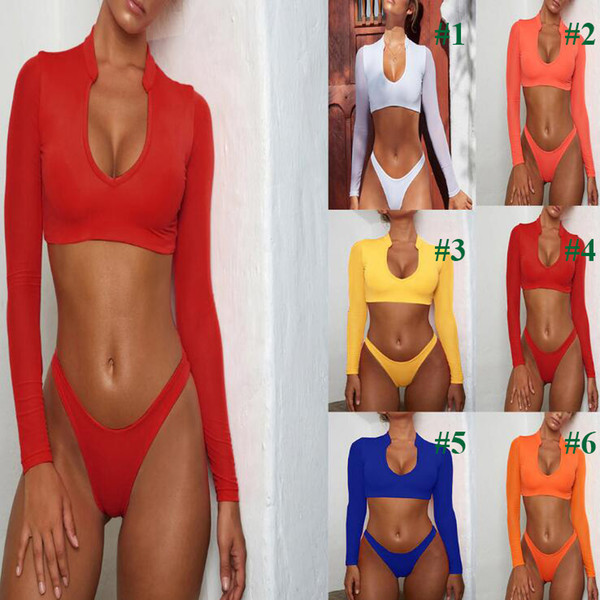 best selling Bikini Long Sleeve Brazilian Bikini Set High Cut White Swimsuit Thong Swimwear Women Bathers Micro Bikini 2020 Mesh Swimming Summer M803