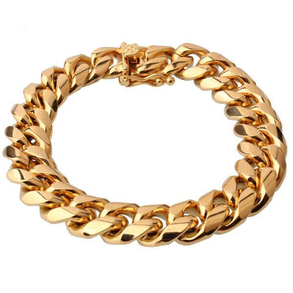15mm Wide Gold Color Stainless Steel Miami Curb Cuban Link Chain Bracelet Jewelry Cool Men's Cuff Gift