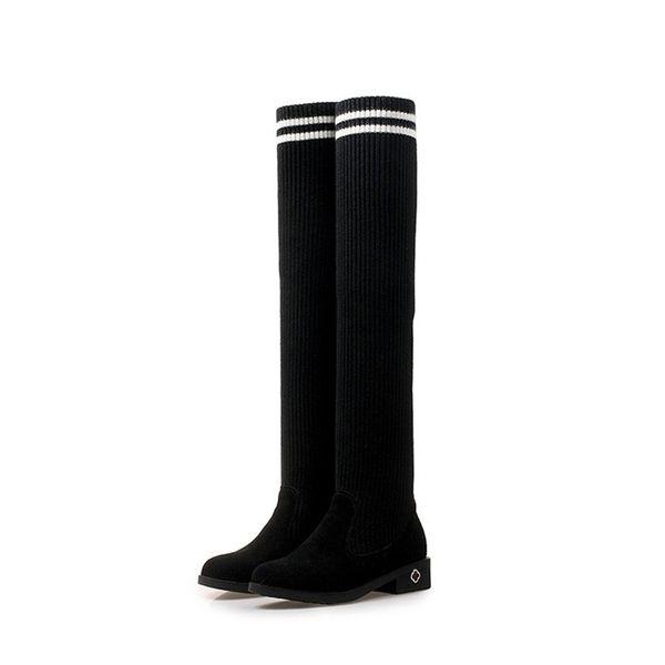 Women over the knee boots thigh high suede boots autumn winter women's wear fur warm black Flat heels boots winter shoes woman