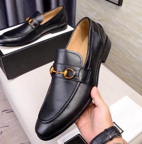 Brand Men cow leather Dress Wedding shoe formal Suit Business Office Moccasins Low Heel Bee Buckle Horsebit Loafers,38-44