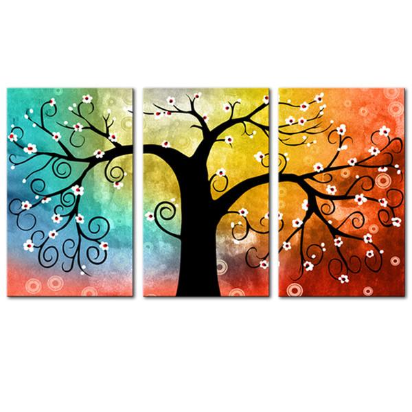 Acheter Décoration De Maison Art De Mur De Toile Sans Cadre 3 Panneaux Multiple Couleur Argent Arbre Imprimé Peinture Modulaire Photos Pour Salon De