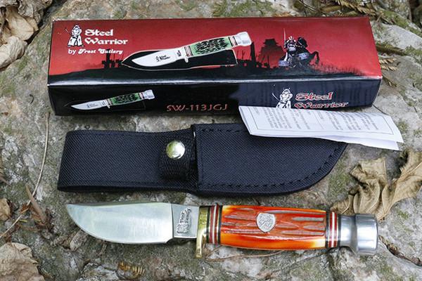 최고의 품질 생존 스트레이트 나이프 440C 미러 플라이시 블레이드 아크릴 손잡이 나일론 칼집이있는 야외 사냥 낚시 구조 칼