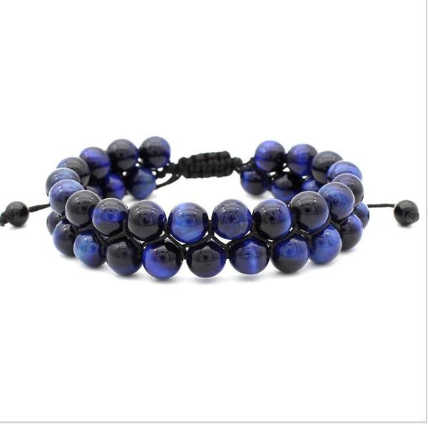 Perle regolabili Bracele 8MM Blue Tiger Red Tiger occhio doppio strato intrecciato braccialetto creativo perline Spedizione gratuita