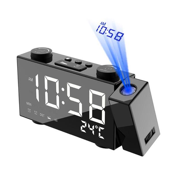 USB / Batterie potenza LED Digital Alarm Clock proiezione Orologio con Snooze 87.5-108 MHz Radio FM Table Desk