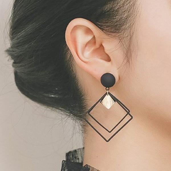 2019 nova marca de design quadrado geométrico brincos de metal minimalista generoso criativo brincos de presente para as mulheres.