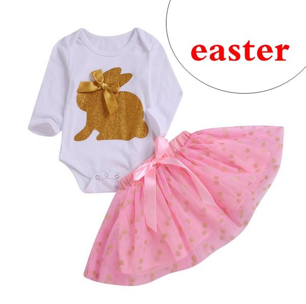 baby designer bunny gold print kids white rompers top tshirt & pink tutu dot print skirts 2pc set