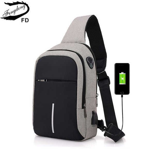 Fengdong Small Usb Charge One Shoulder Bag Men Messenger Bags Male Waterproof Sling Chest Bag 2019 New Bagpack Cross Body Bags Y19061301