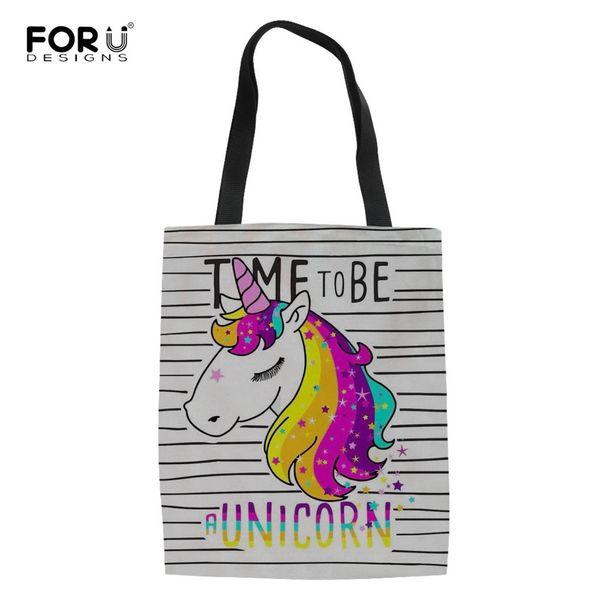 FORUDESIGNS Reusable Unicorn Shopping Bag Women Totes Canvas Bags Girls Single Shoulder Bag for Shopper Foldable Bolsas de tela