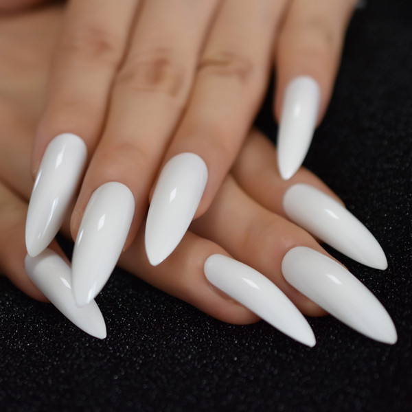 Popular Solid Pure Color False Nails Extra Long Stiletto Tips White Press on Fake Nail Chip UV Gel Finger Extensions Accessories