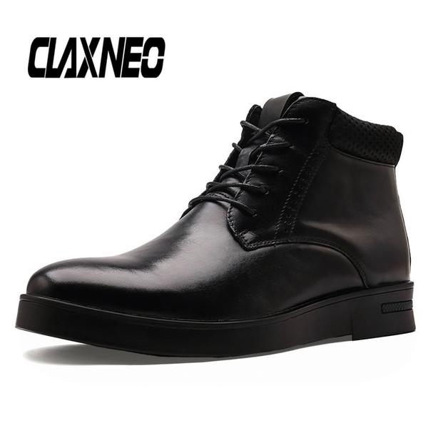 CLAXNEO Homme Bottes Automne Hiver Homme Chaussures en cuir véritable cheville chaussures hommes en cuir Boot Taille Big