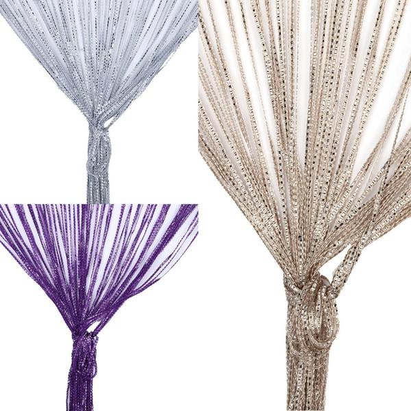 2 X 1 M Schnur-Vorhang-Kristall-Perlen Quaste Silk Schnur-Vorhang-Tür-Fenster-Panel Gardinen Valance für Wohnzimmer-Dekor-Vorhang