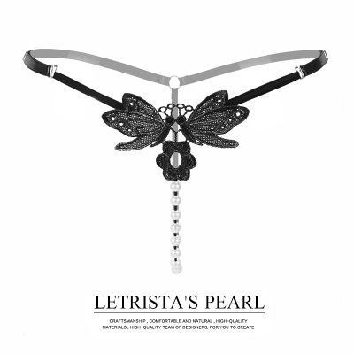 Mutandine della biancheria intima della stringa del G-String della biancheria intima delle donne Mutandine di perline comode perizoma floreale Perizoma di massaggio della perla del pizzo della G-stringa