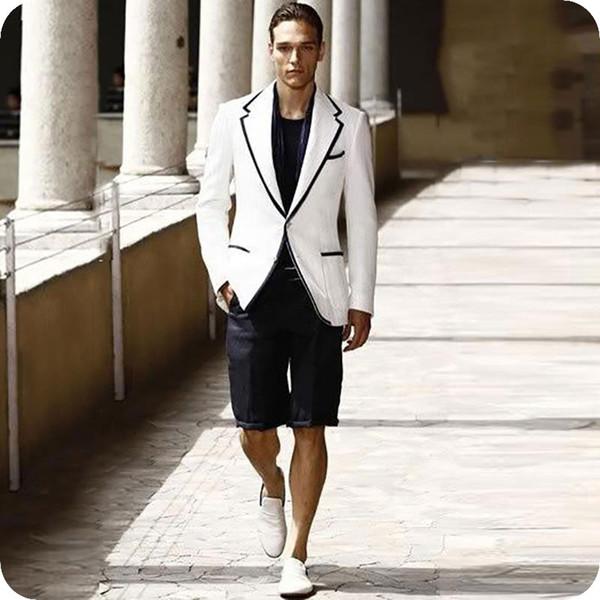 Latest Designs White Men Suit Black Short Pants Groom Wedding Tuxedos Terno Masculino Costume Man Blazers Jacket 2piece Casual Evening Party