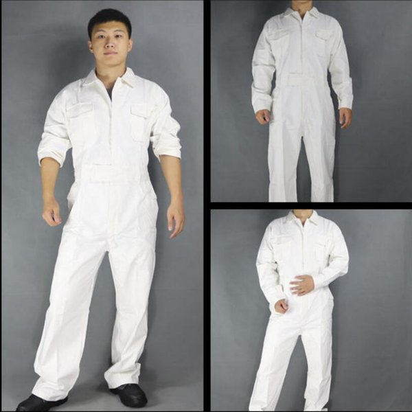 XS-3XL Men's Cotton one-piece jumpsuits tide men's tooling white Work Overalls Long Sleeve Working Coveralls Workwear Repairman