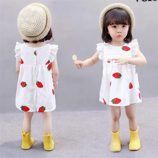 Cute Baby Girls Лето Белый Клубничный Цветок Печатный Платье Детский Мультфильм Lutos Leaf Платье Принцессы без Рукавов