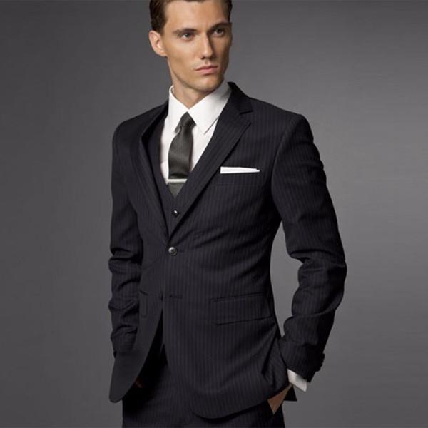 Damat Suit Düğün Erkekler Için Suits 2018 Erkek Çizgili Takım Elbise Düğün Damat Smokin, Erkekler Için uyarlanmış 3 Parça Siyah Smokin