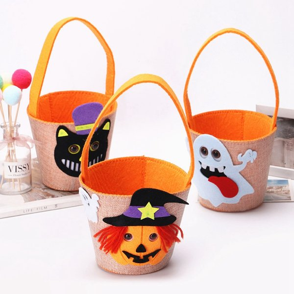 top popular Ghost Print Halloween Buckets Bag Creative Baby Spider Basket Candy Handbags Cartoon Kids Cat Tote Home Festiavel Supply TTA1688 2019