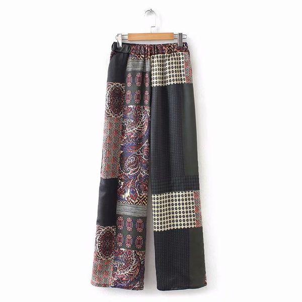 2019 frauen vintage tuch patchwork druck breite beinhosen lange hosen mujer freizeit retro totem muster marke chic hosen