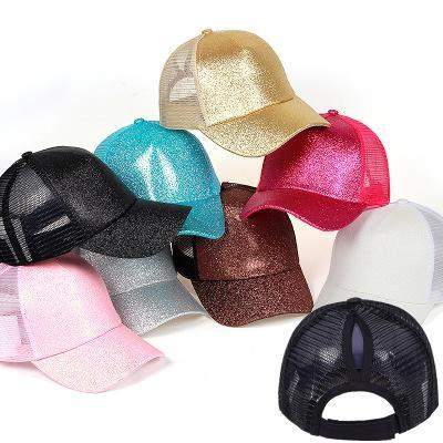 Glitter At Kuyruğu Beyzbol Şapkası Kadın Snapback Baba Şapka Örgü Kamyon Şoförü Dağınık Bun Yaz Şapka Kadın Ayarlanabilir Hip Hop ...